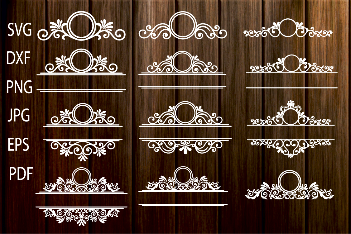 Mailbox Frame svg, Ornamental Split Frame SVG, Flourish example image 1