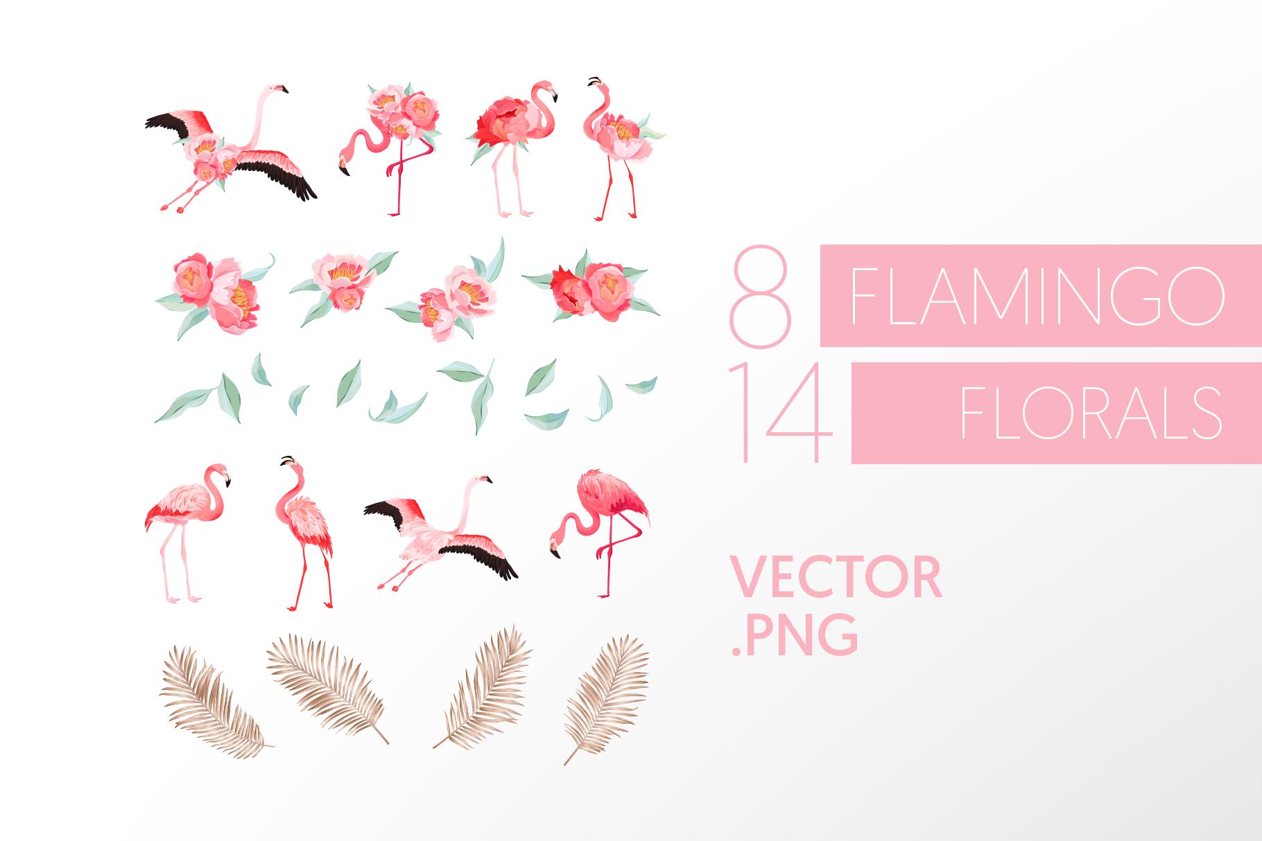 Flamingo and Flowers Design Kit example image 5