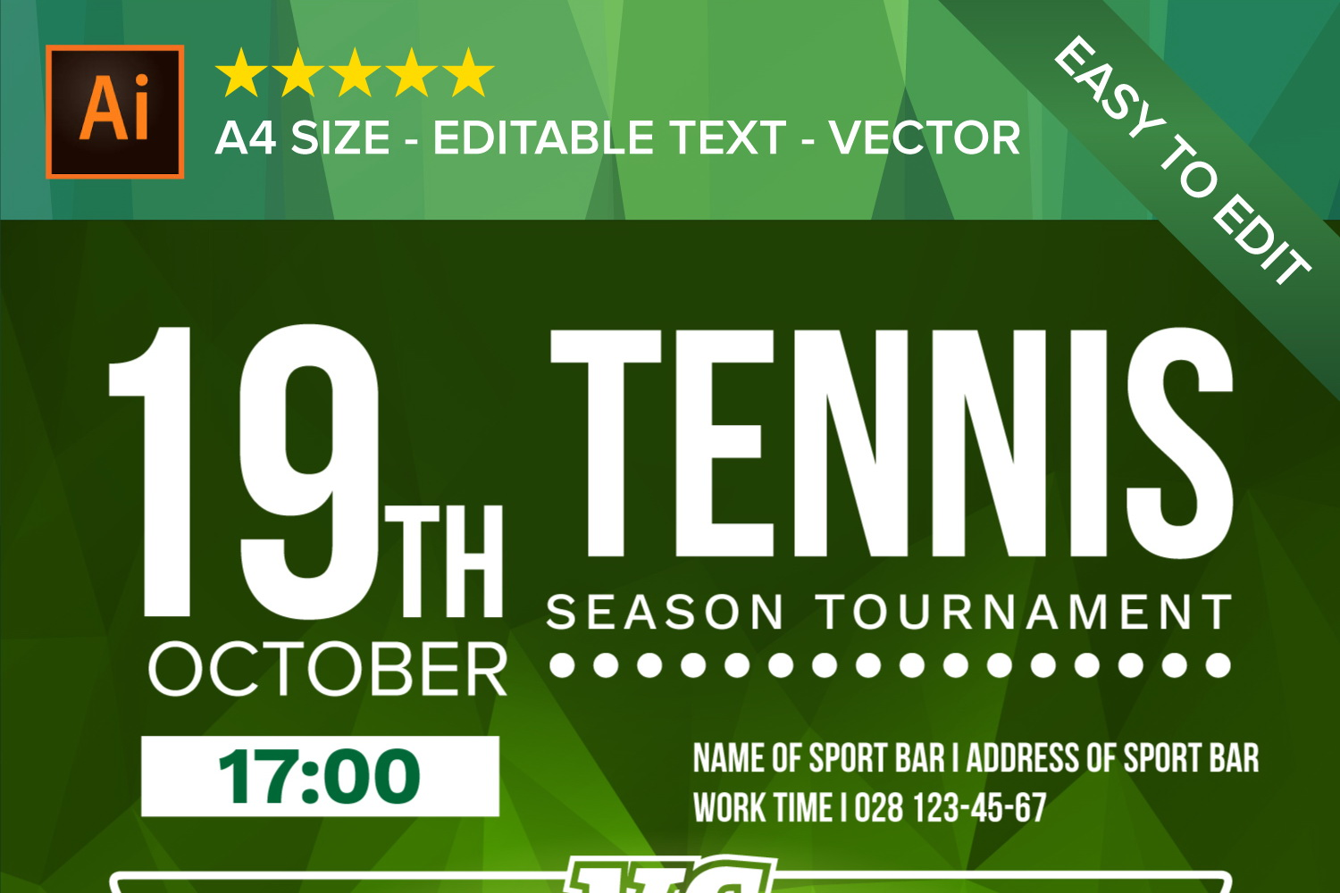 Tennis Poster Vector example image 3