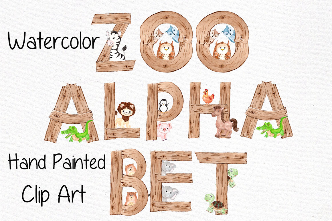 Watercolor animal alphabet clipart example image 1