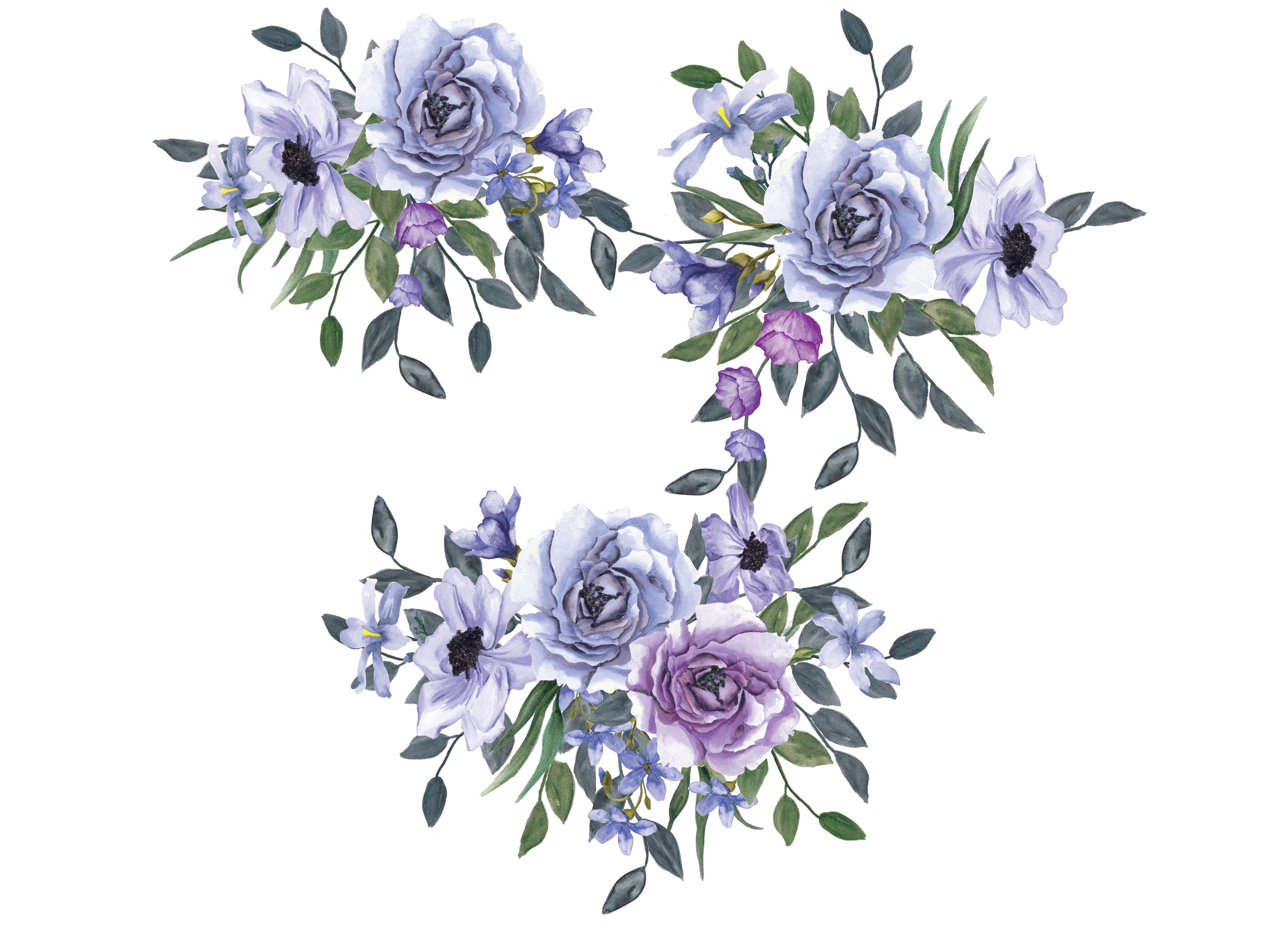Violet Watercolor Flower Clipart Floral Arrangement Clipart (3874 x 2810 Pixel)
