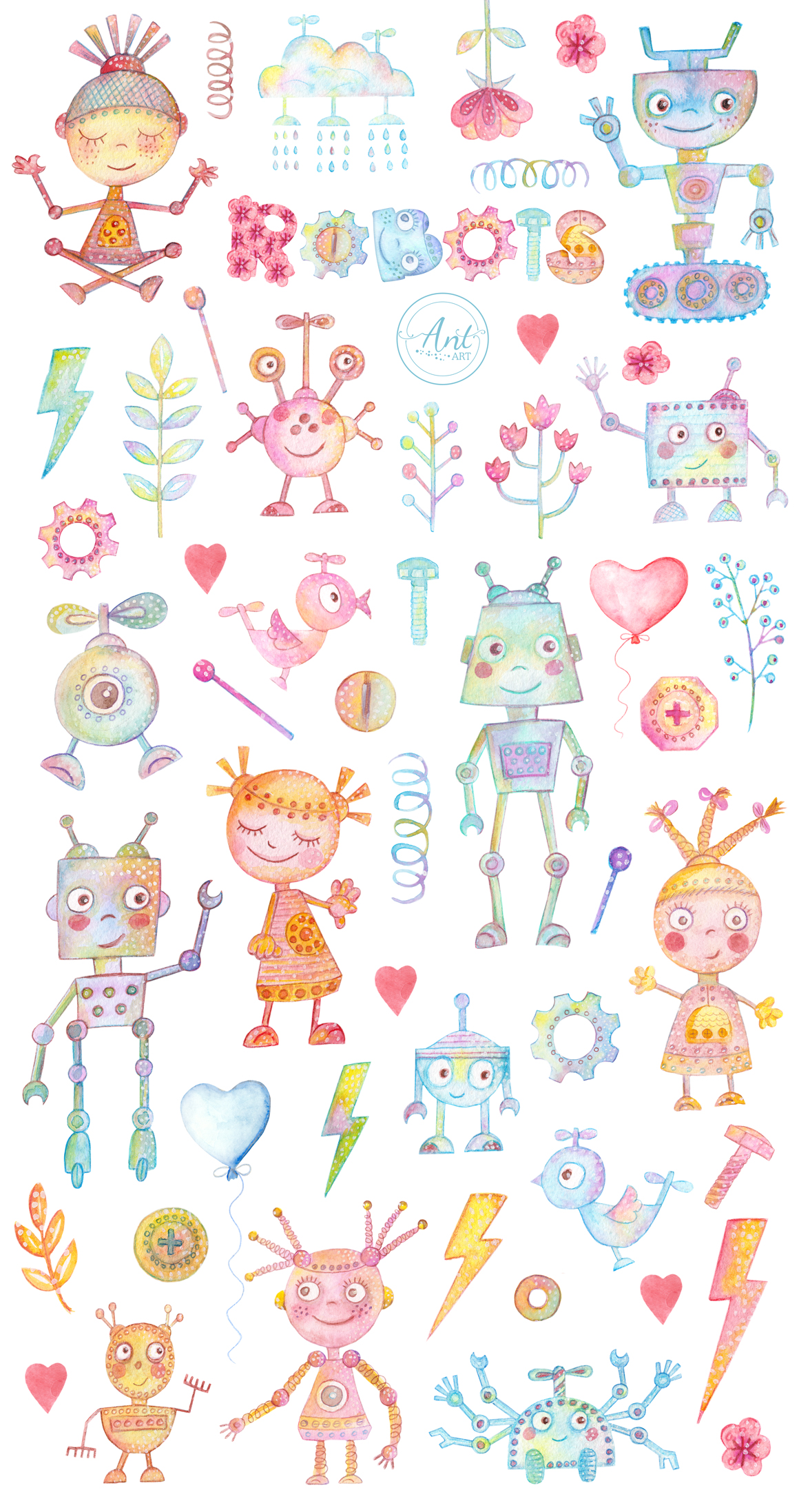Watercolor Robots Party example image 2