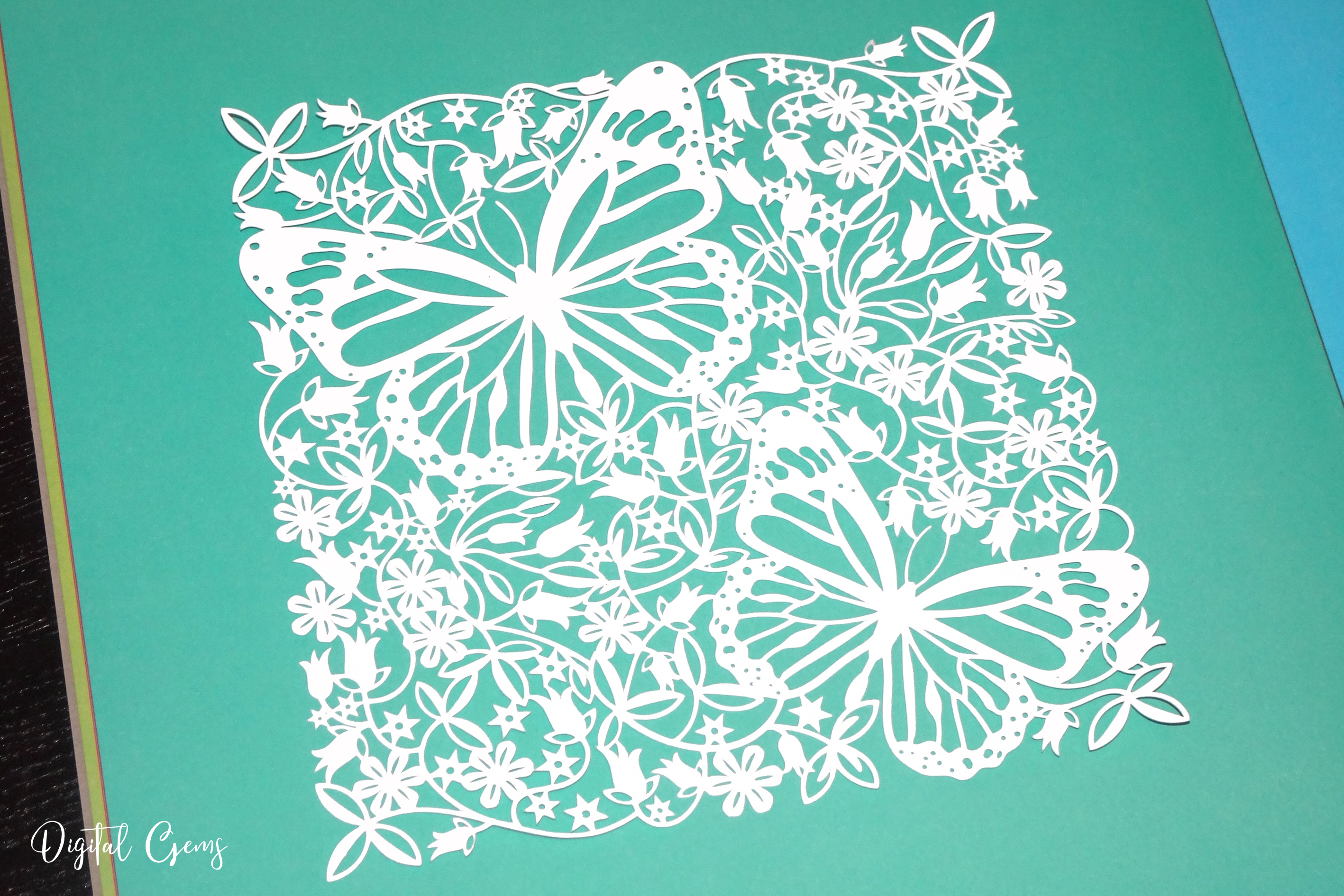 Butterfly paper cut design SVG / DXF / EPS / PNG files example image 9