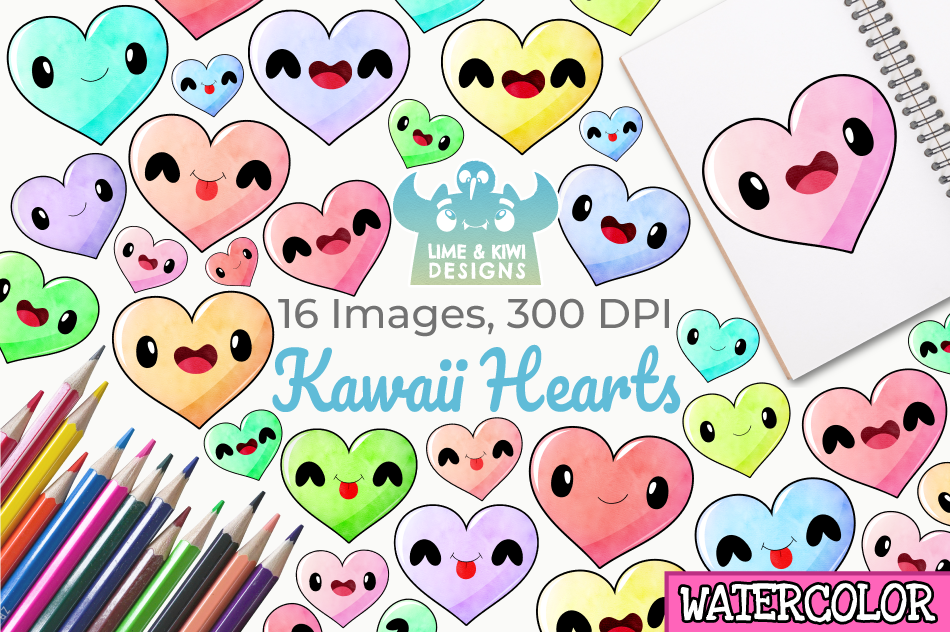 Kawaii Hearts Watercolor Clipart, Instant Download example image 1