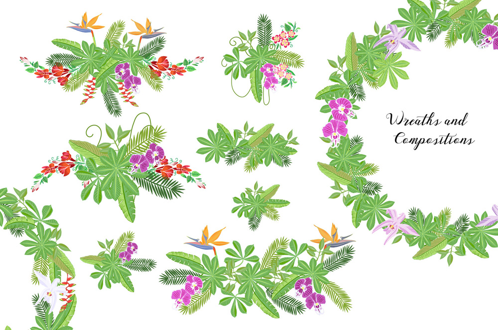 Jungle clipart with flowers example image 2