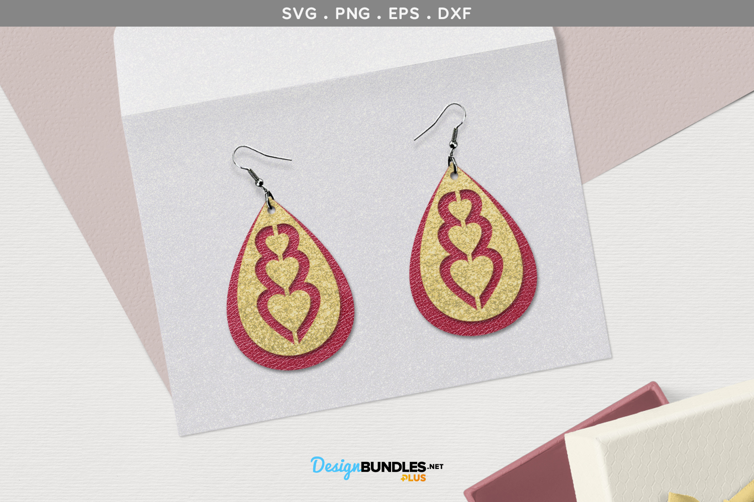 Heart Ear Rings SVG example image 1