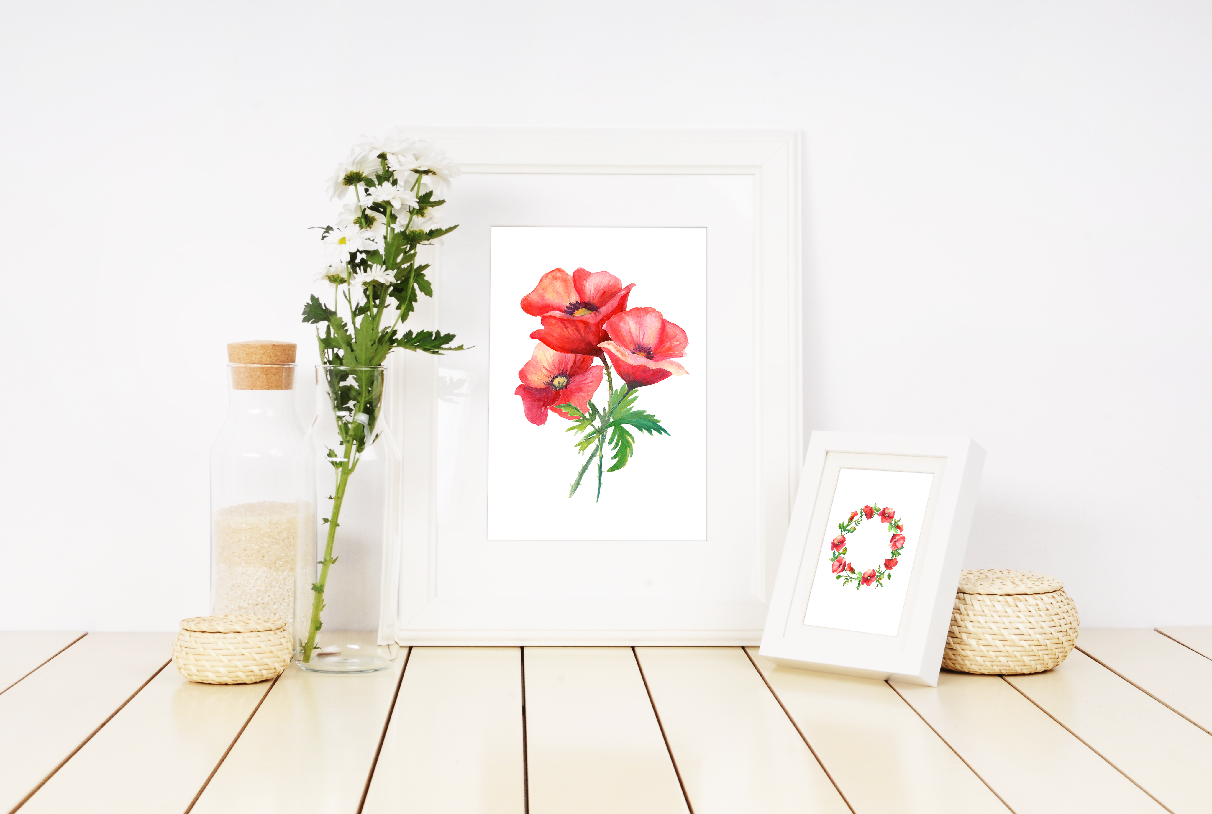 Watercolor poppies. example image 4