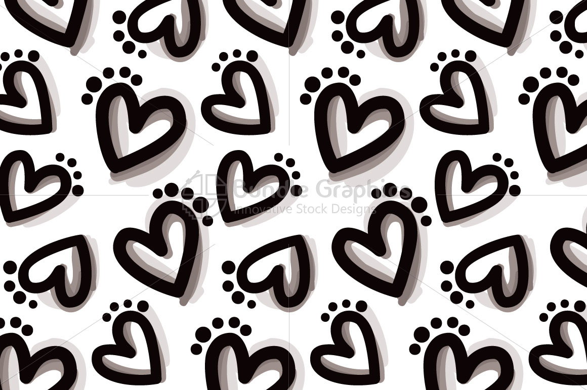 Bold Hearts - Freehand Organic Shapes Seamless Background example image 2