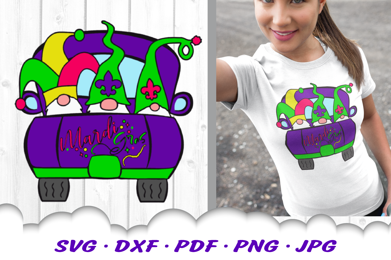 Mardi Gras Truck Gnomes Gnome SVG DXF Cut Files example image 1