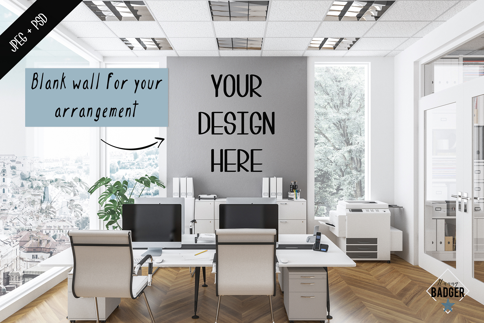 Office interior mockup - frame & wall mockup creator example image 6