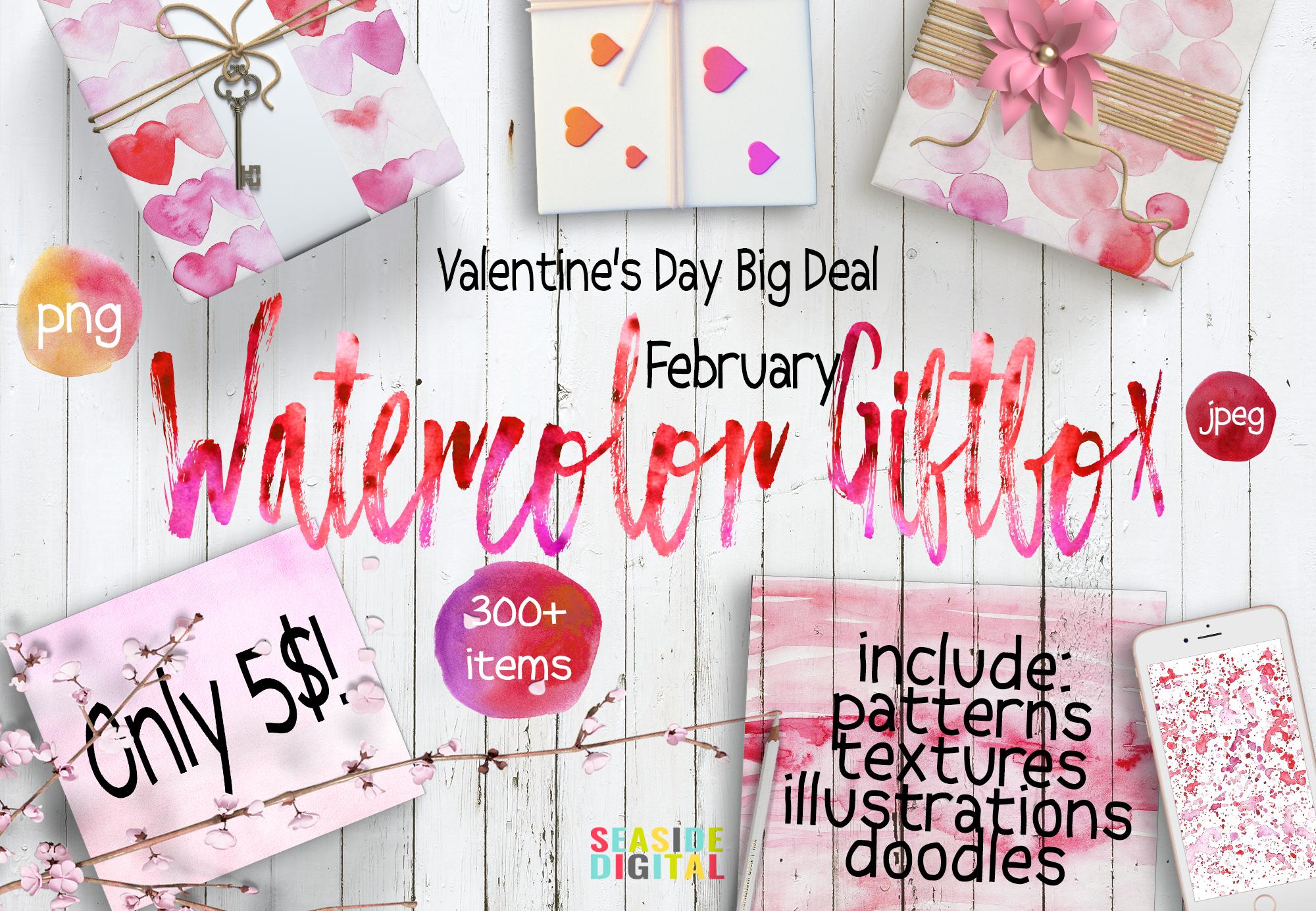 Valentine's Day Watercolor Giftbox example image 1