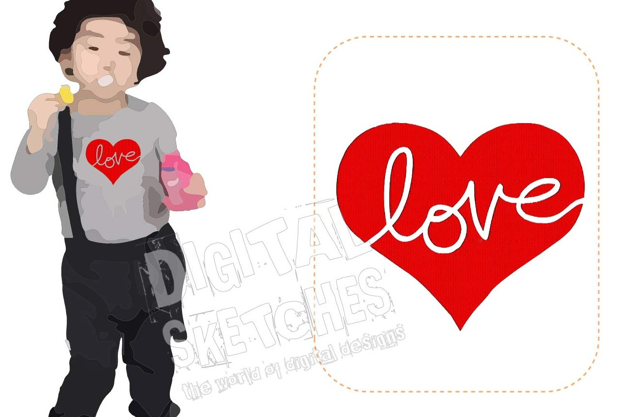 Love Heart Machine Embroidery Design 5 Sizes example image 1