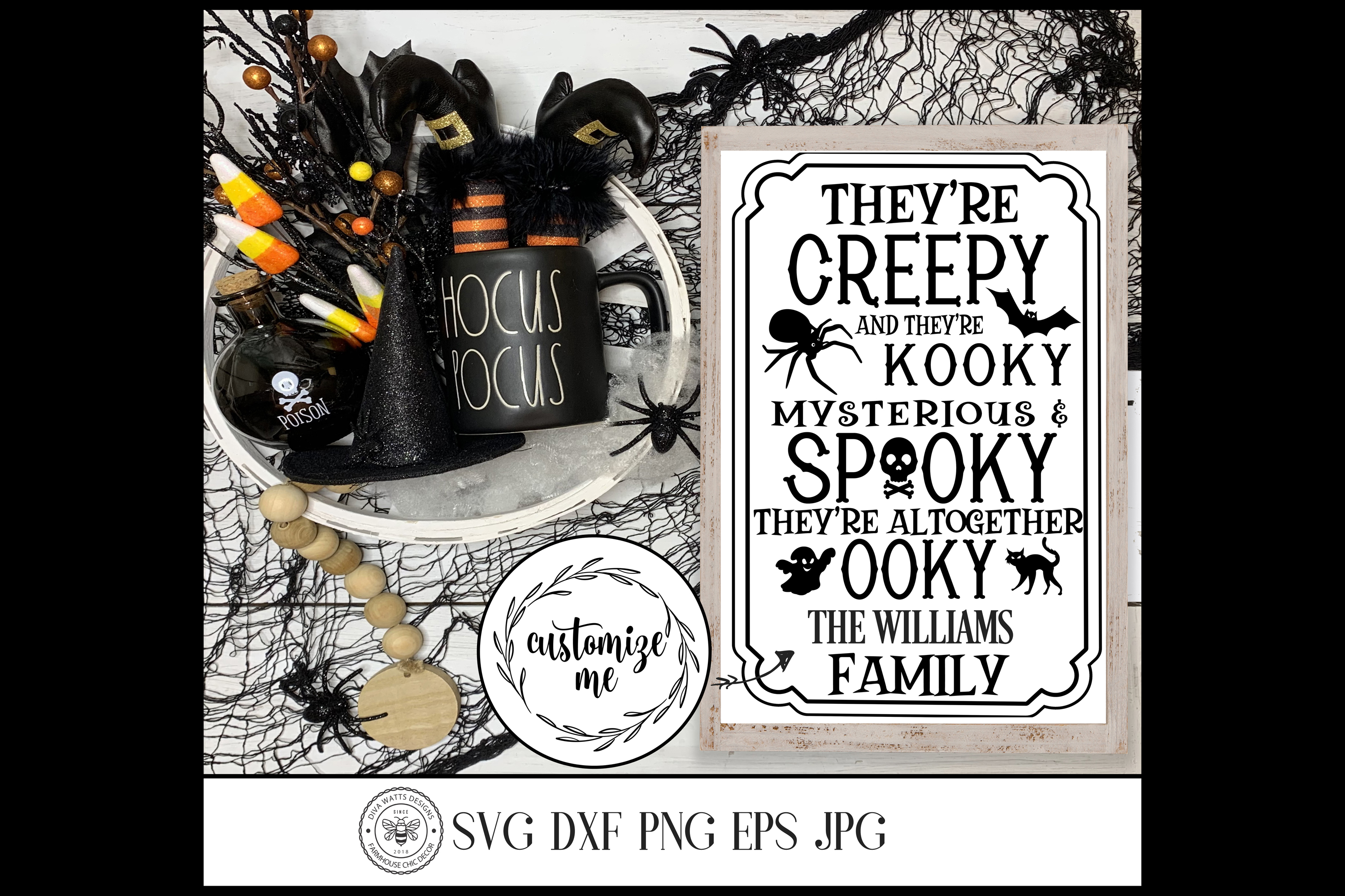 Halloween Family Last Name Cutting File Creepy and Kooky example image 1