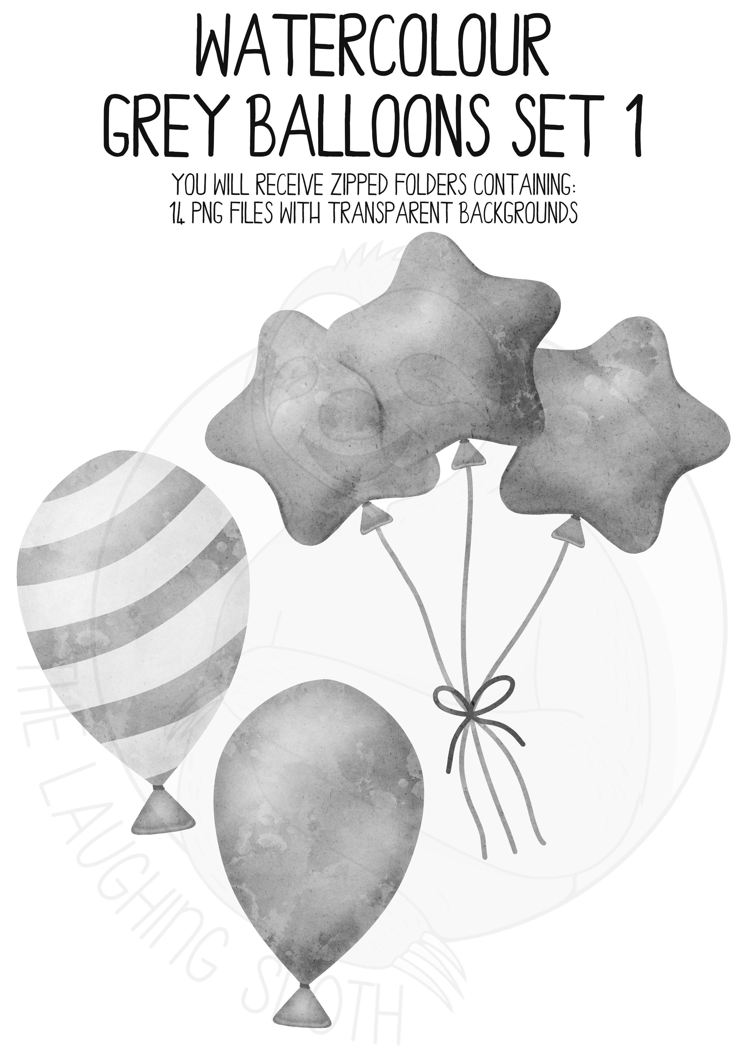 Grey Watercolor Balloon Clipart Set example image 4
