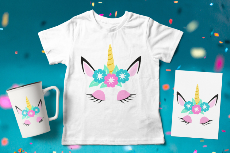 Unicorn head svg. Cute unicorn clipart example image 2