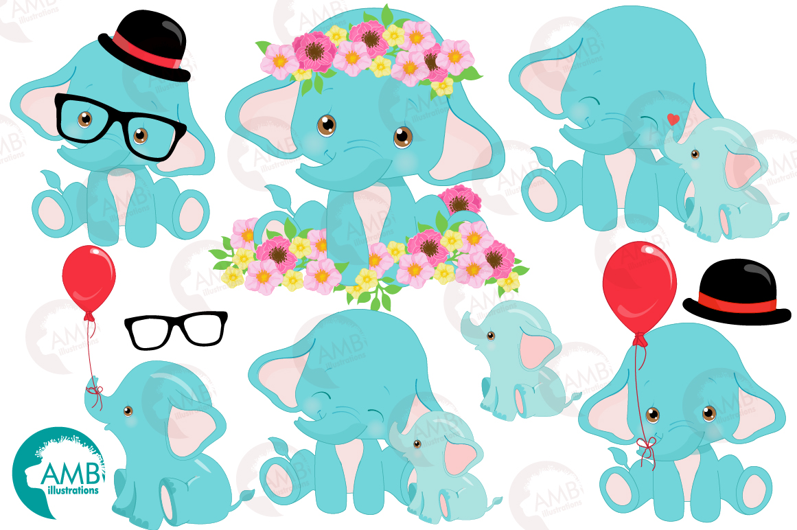 BABY ELEPHANT BUNDLE! 53 cliparts, graphics and illustrations and Patterns AMB-2273 example image 10