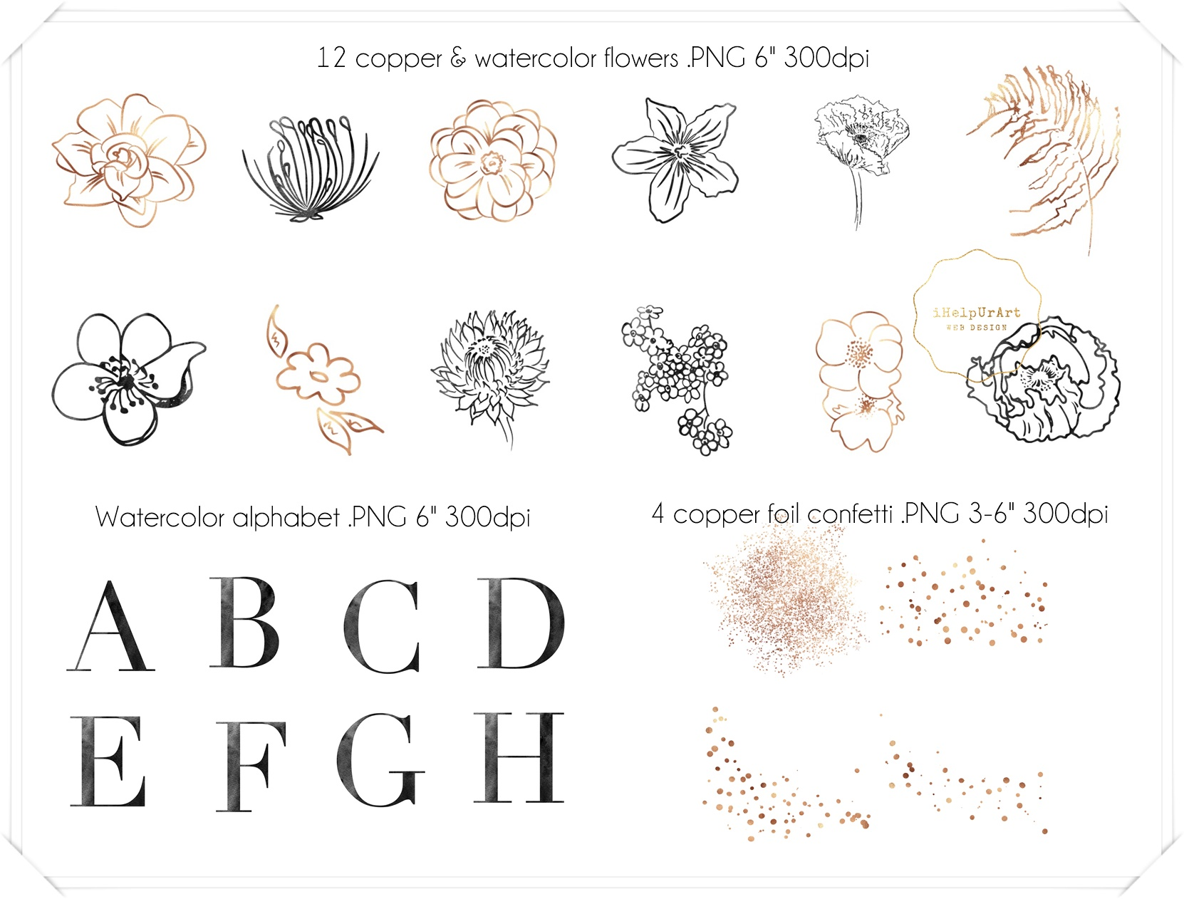 Copper and Watercolor Design Kit example image 6