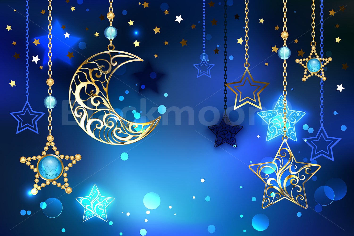 Gold Crescent on Blue Background example image 1