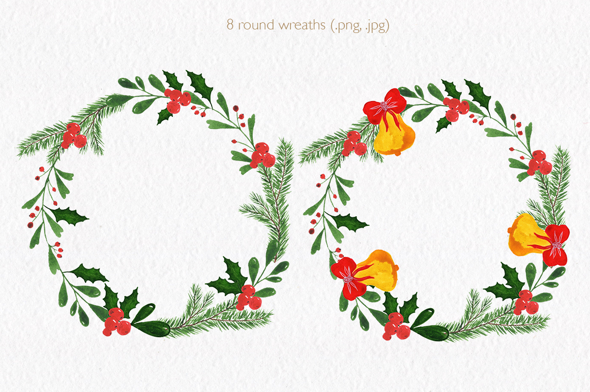 Christmas watercolor collection. Hand drawn illustrations. example image 3