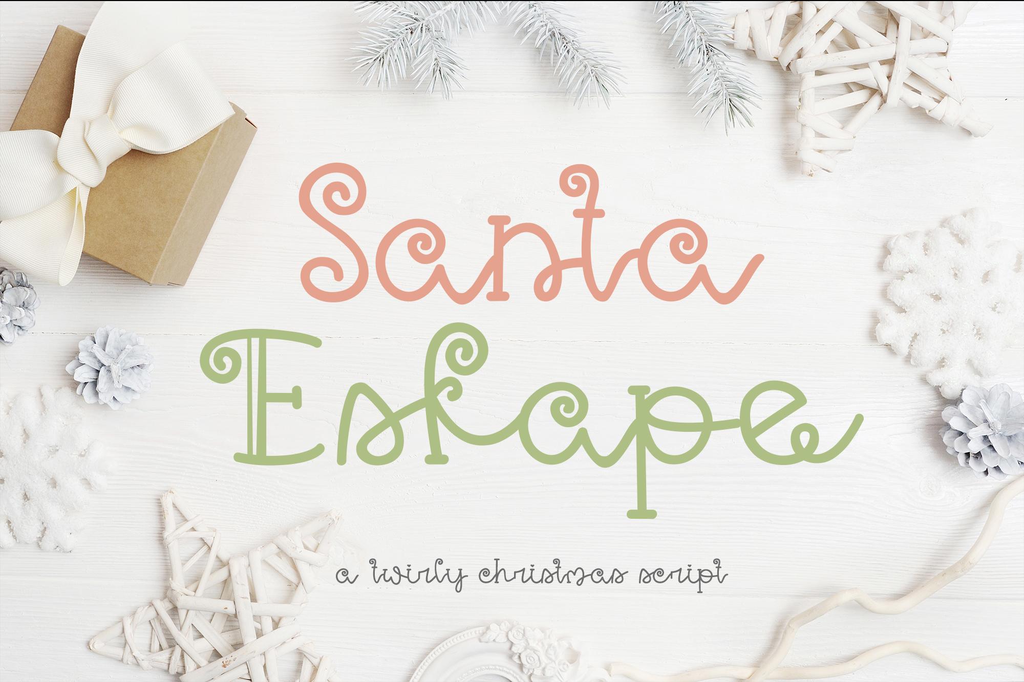 Santa Eskape| A cute swirly christmas font| Script Font example image 1