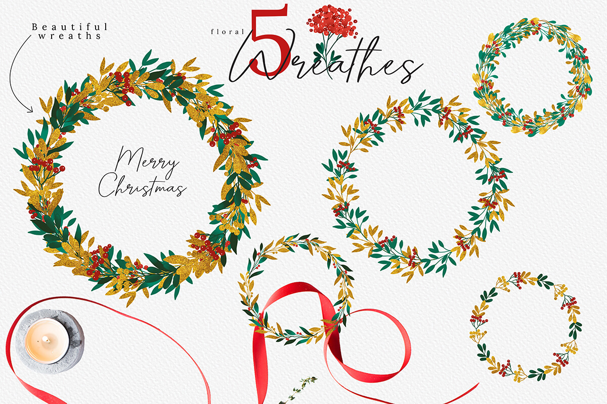 Christmas Watercolor Flowers Clipart Collection example image 5
