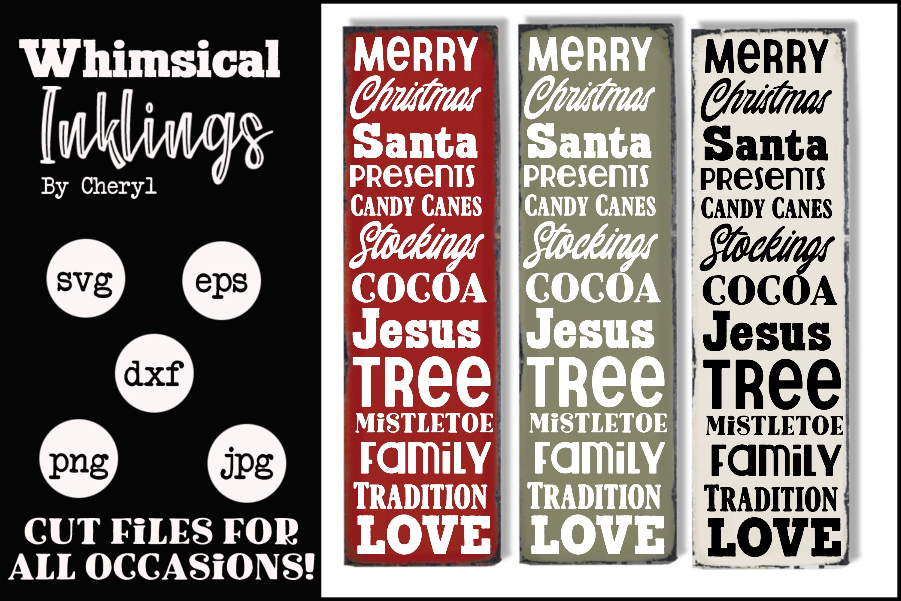Merry Christmas Vertical 2 SVG example image 1