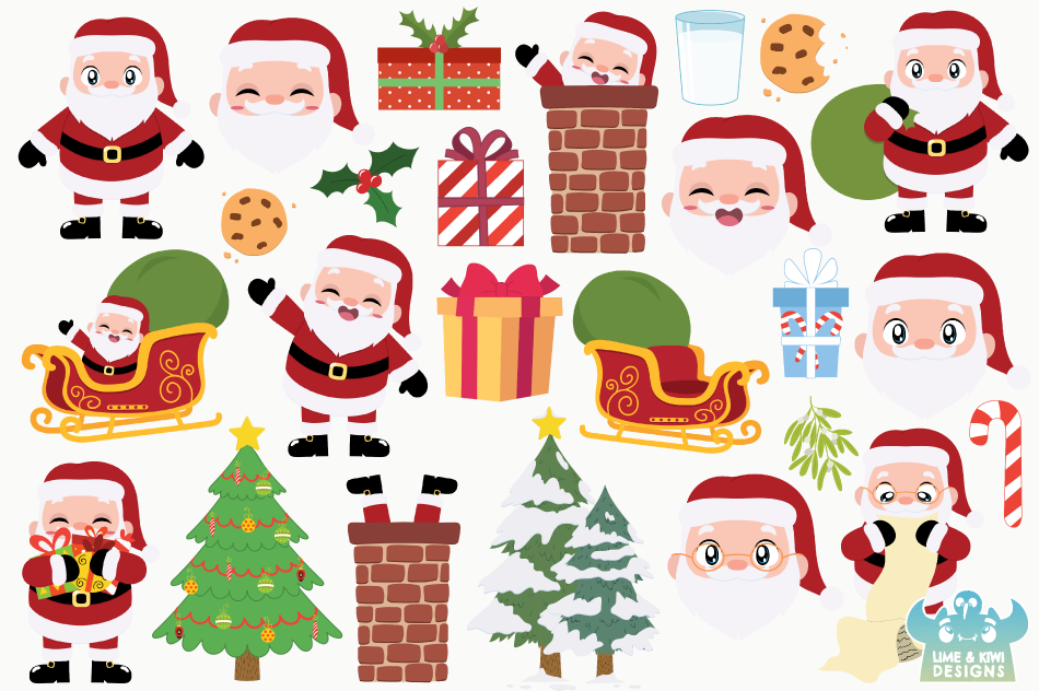 Santa Claus Clipart, Instant Download Vector Art, Commercial example image 2