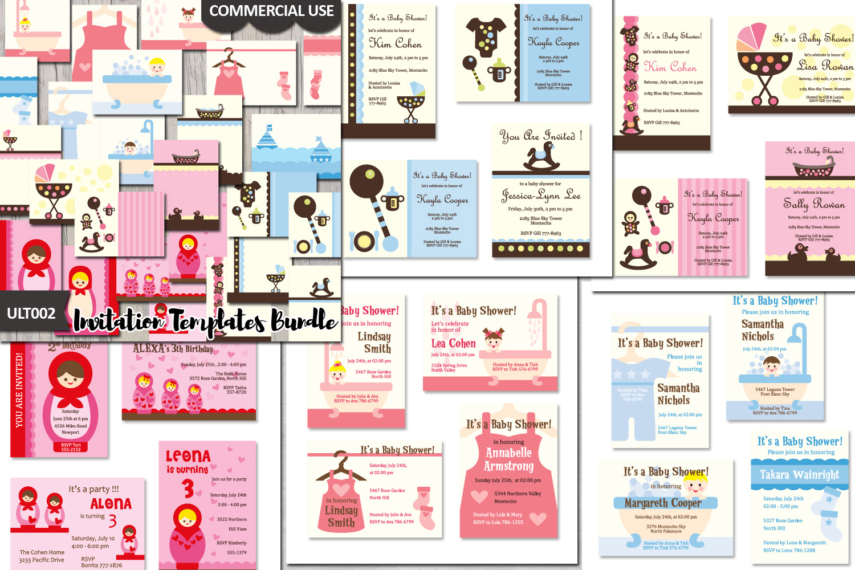 Templates Bundle Baby Shower Invites Cards Design