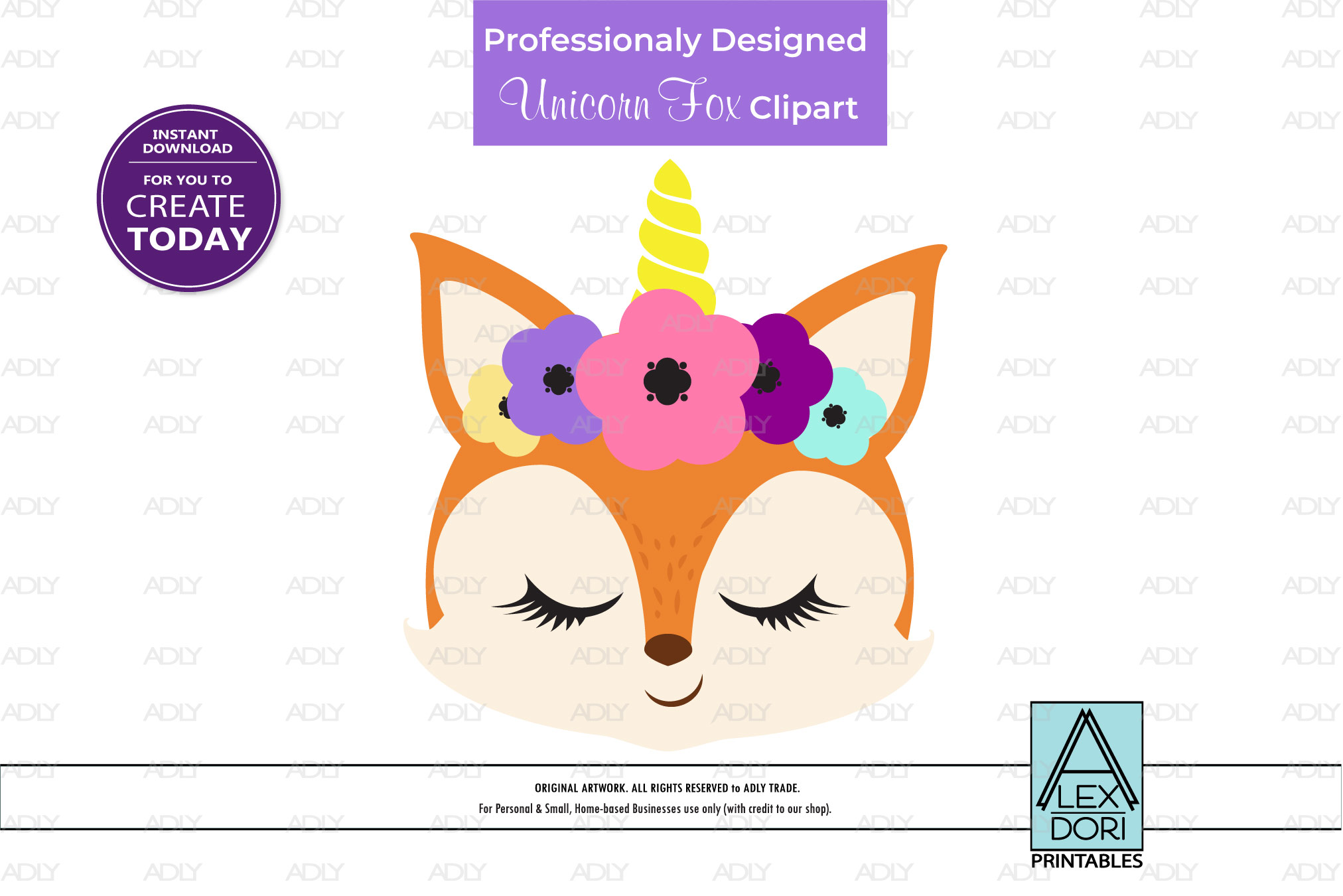 Unicorn, Floral Crown Fox PNG, Clipart example image 1
