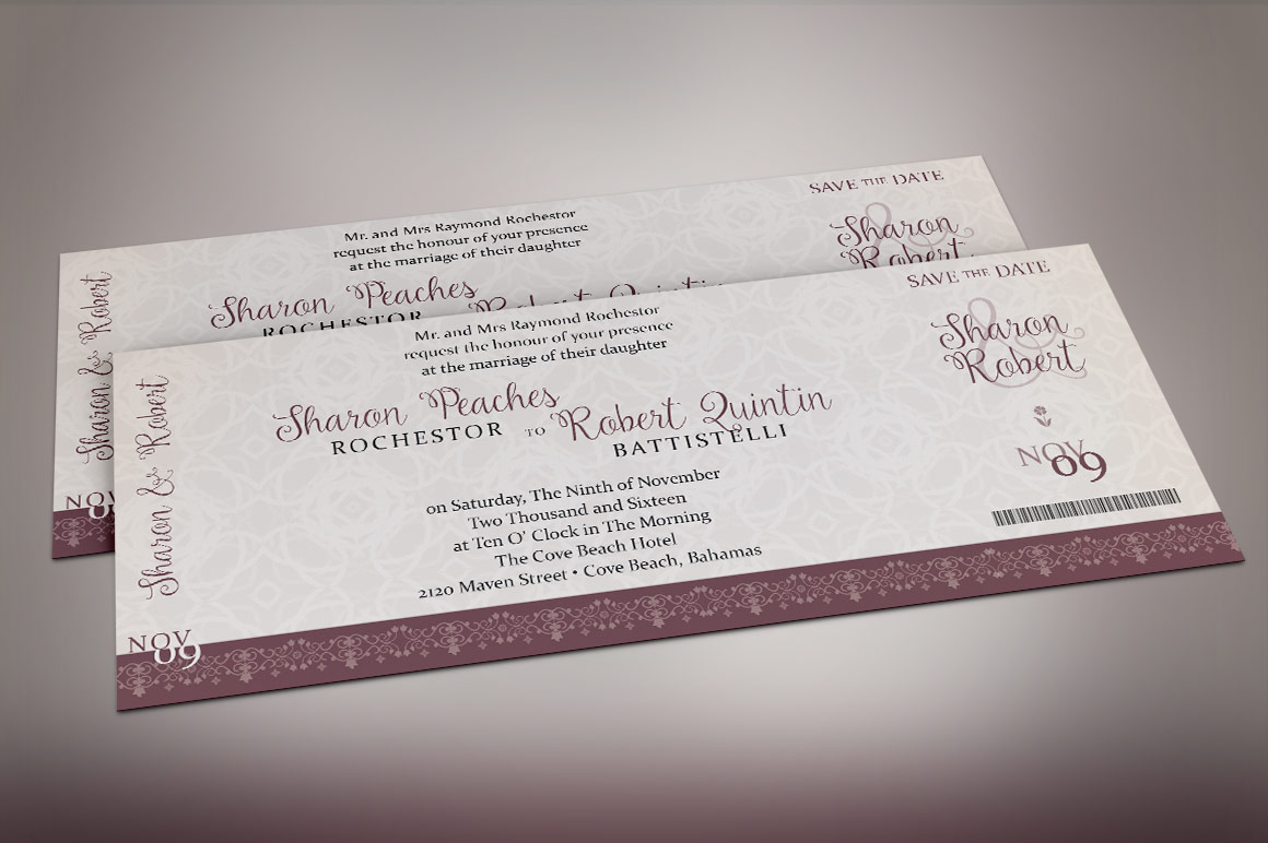 Vintage Boarding Pass Invitation Template example image 3