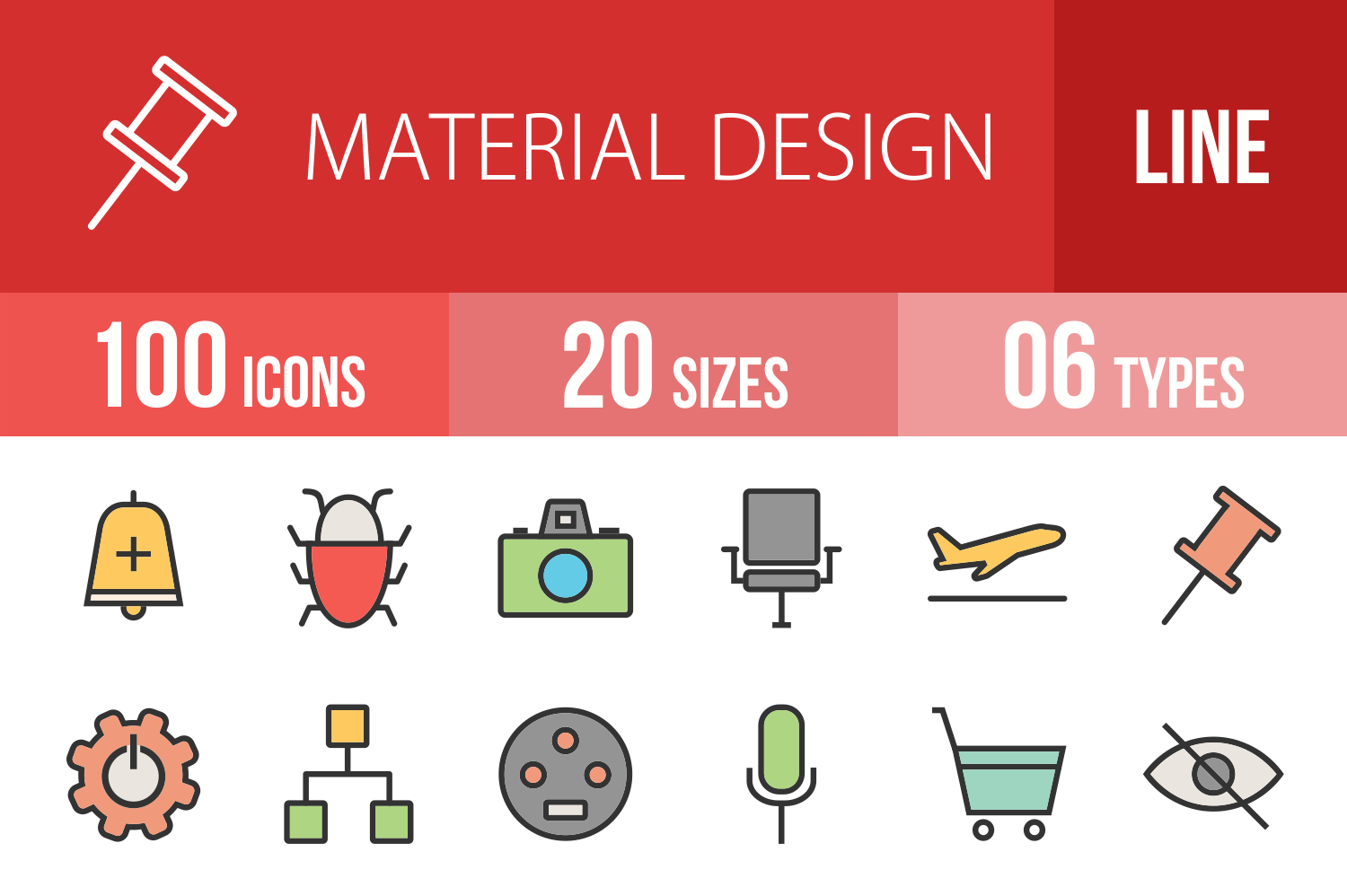 100 Material Design Linear Multicolor Icons example image 1