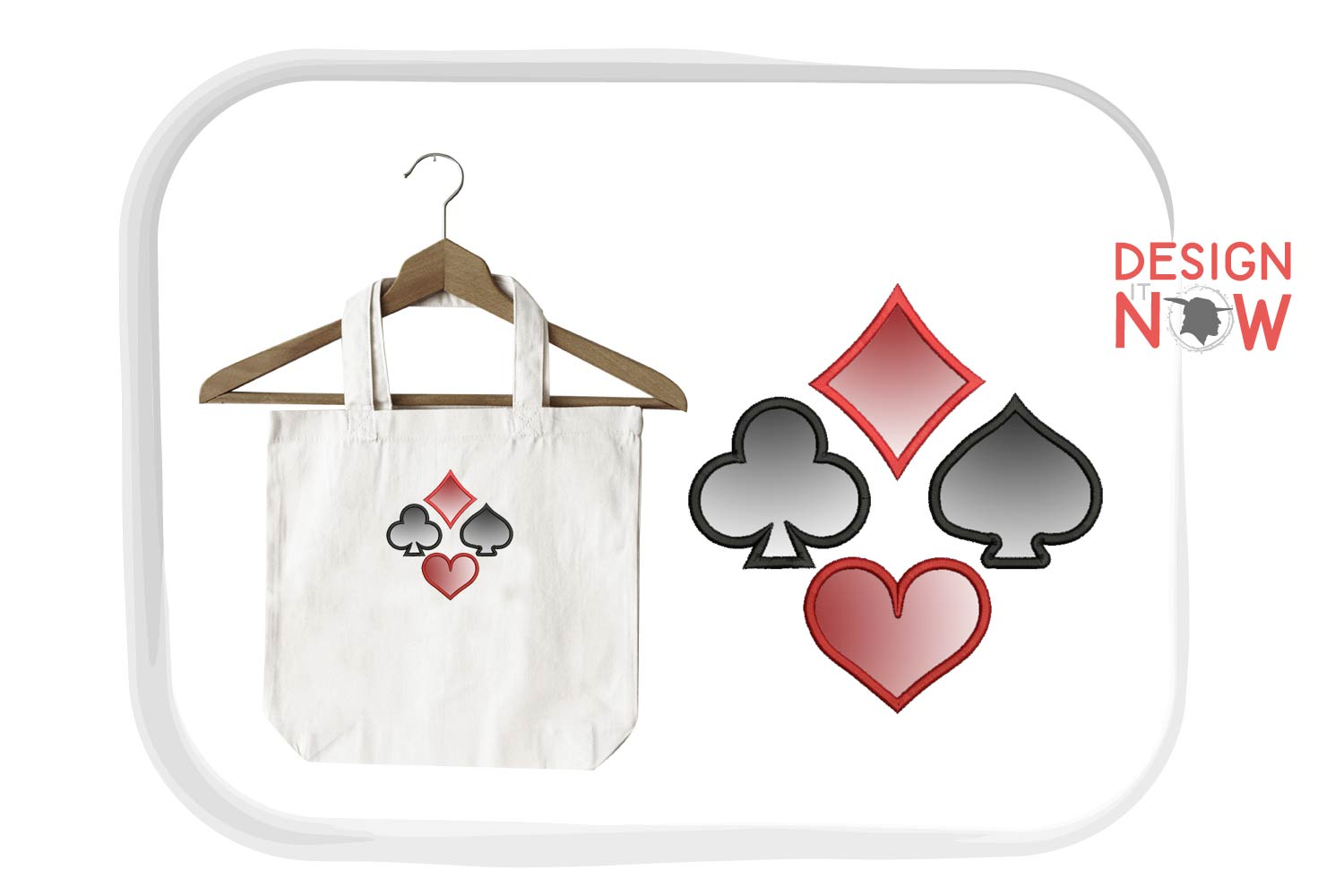 Playing Cards Applique Design, Symbols Embroidery Design example image 2