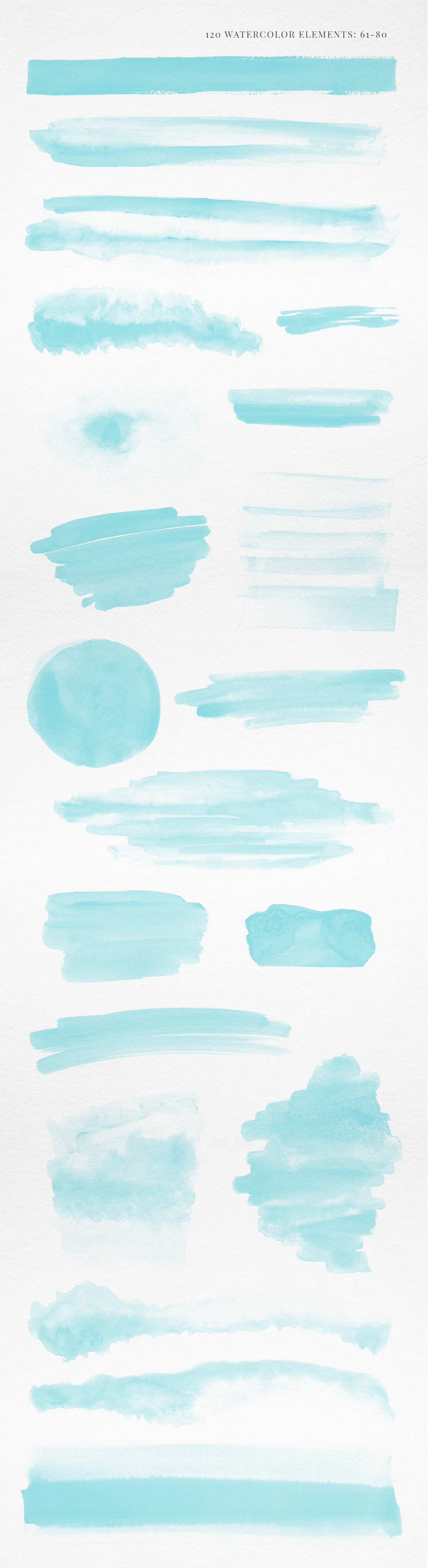120 Turquoise Blue Watercolor Texture Elements example image 5