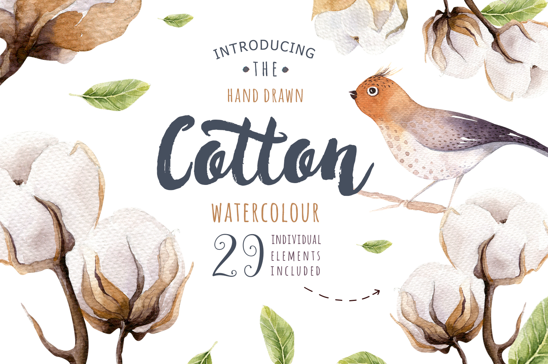 Watercolour cotton & birds example image 1