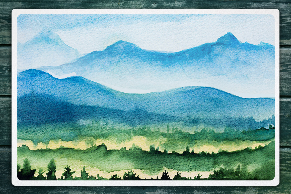 Watercolor Vector Landscapes set#2 example image 6