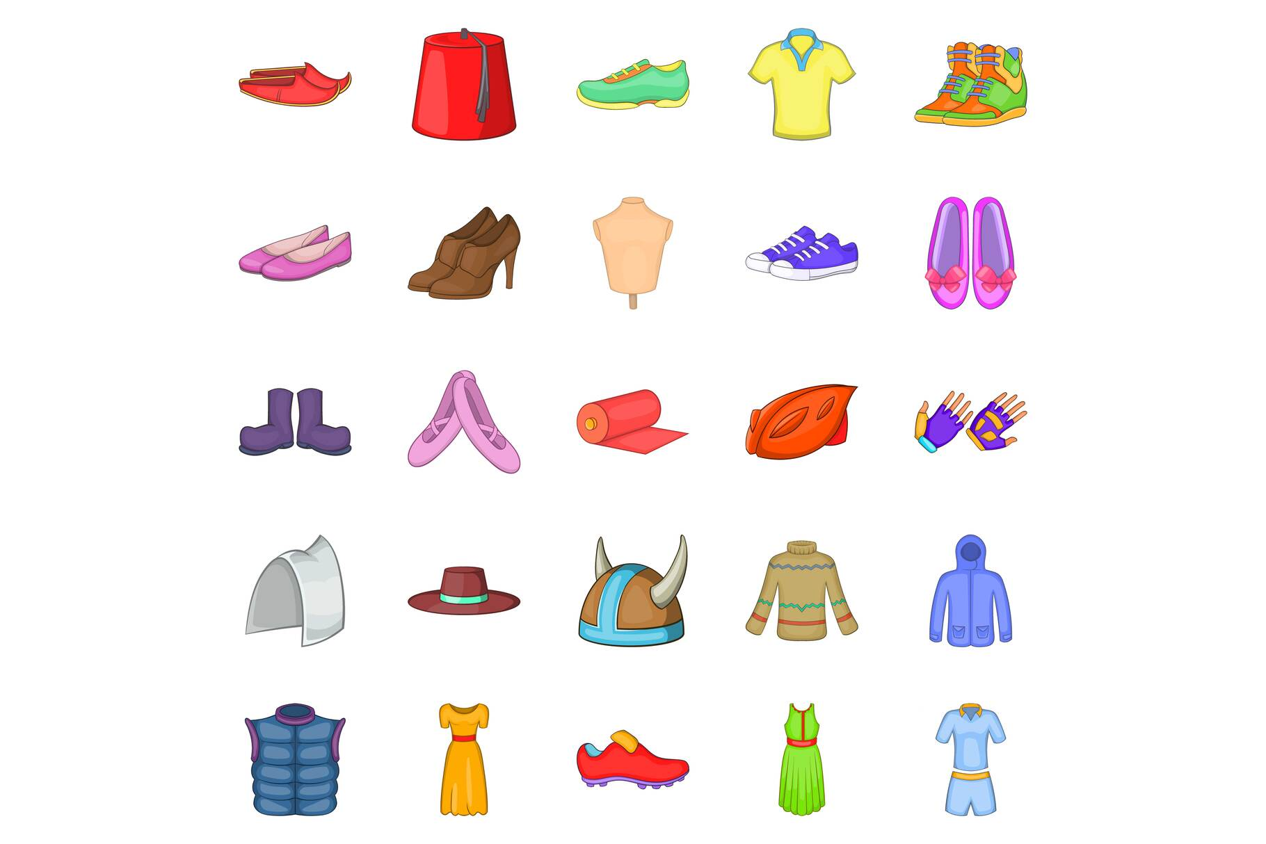 Sport shoes icons set, cartoon style example image 1