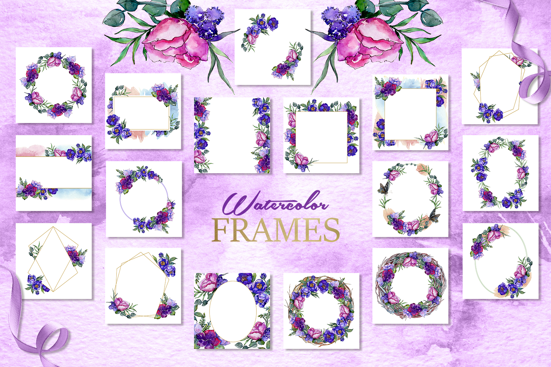 Bouquets of purple flowers Watercolor PNG example image 6