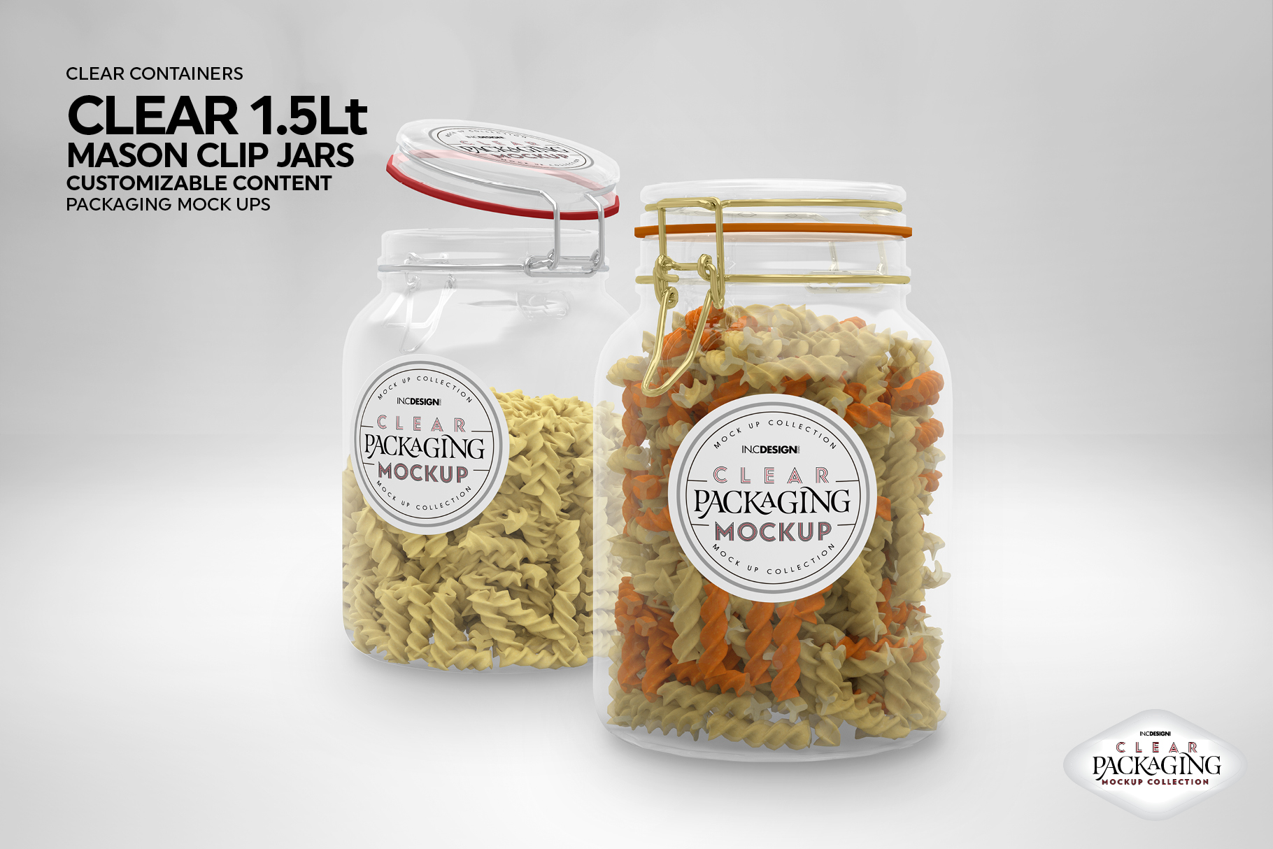 Clear 1.5 Liter Mason Clip Jar Packaging Mockup example image 7