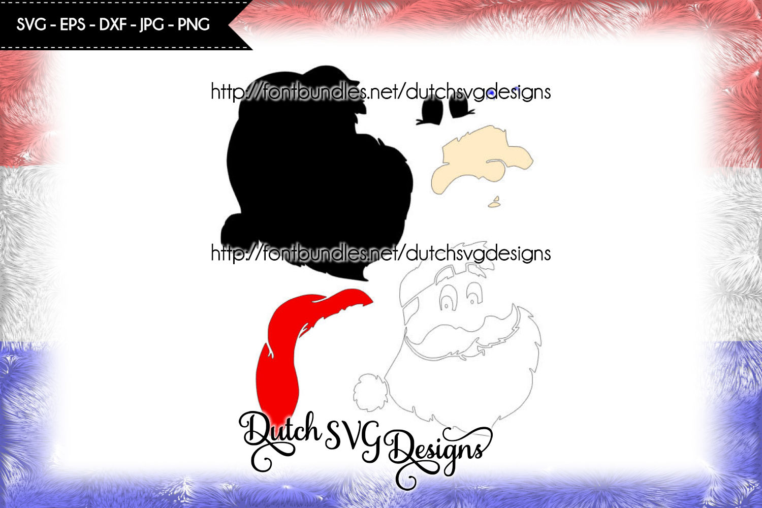 Santa Claus cutting file / printable, in Jpg Png SVG EPS DXF, for Cricut & Silhouette, christmas svg, santa svg, santa claus svg, cut file example image 2