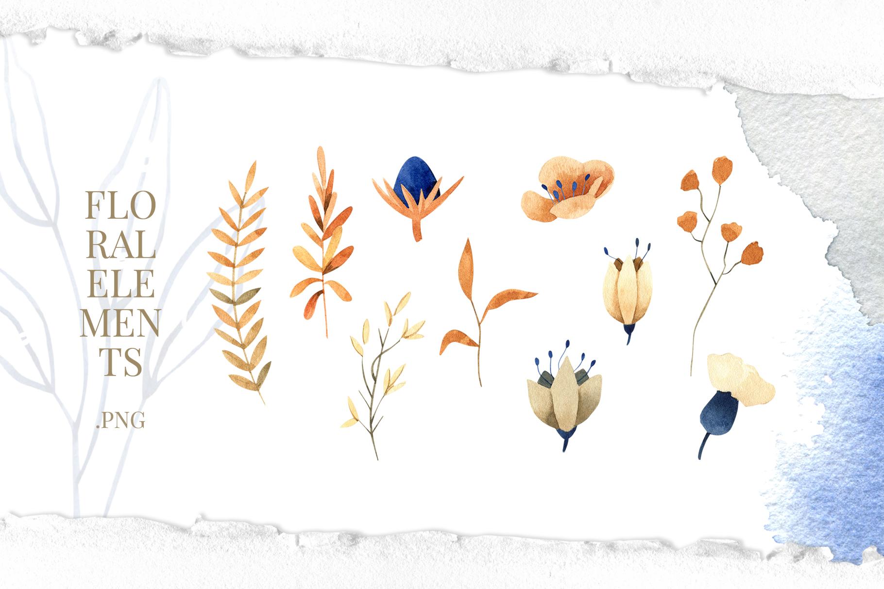 Deep Blue Alphabet Watercolor Design Kit example image 8