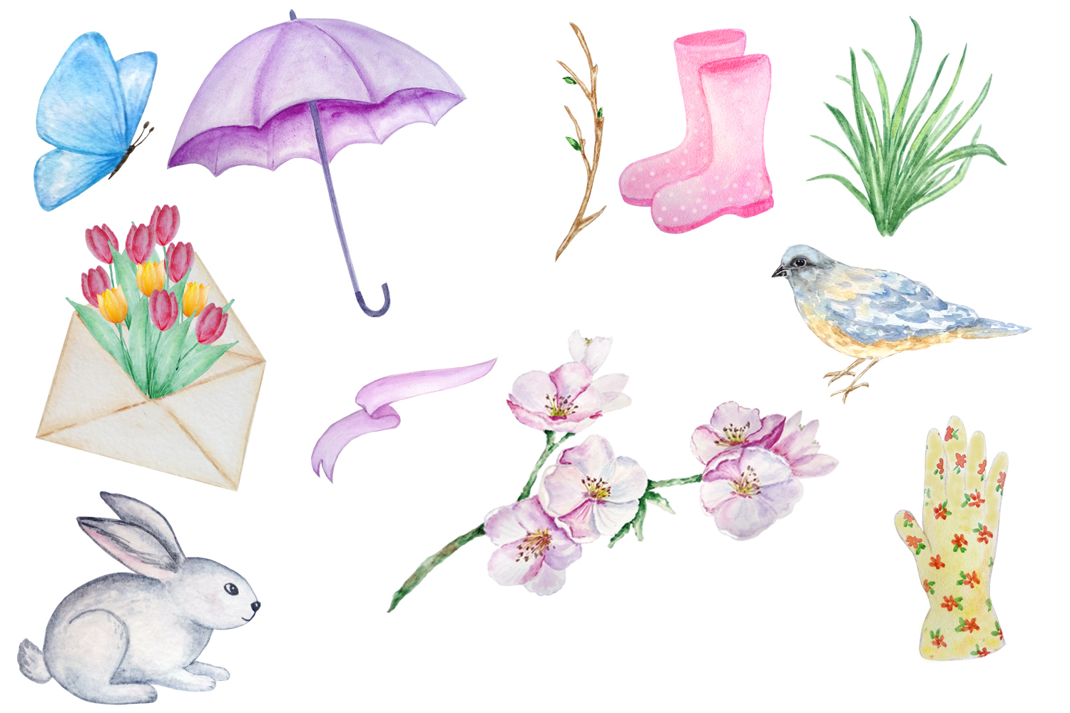 Watercolor Spring Clipart Set example image 2