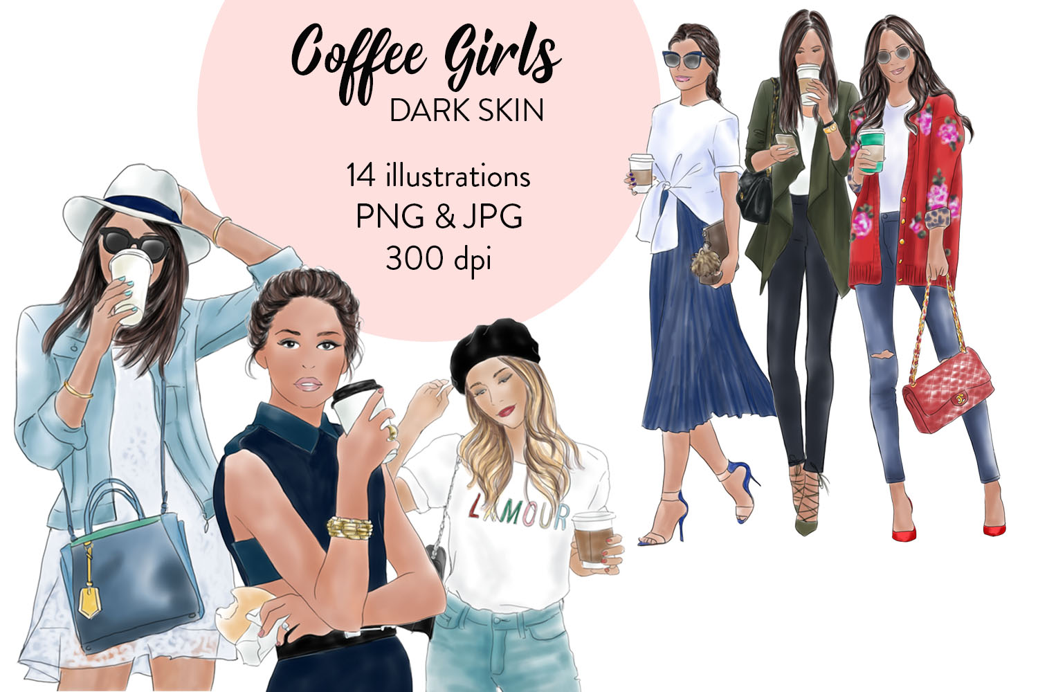 Coffee Girls 1- dark skin watercolour fashion clipart example image 1