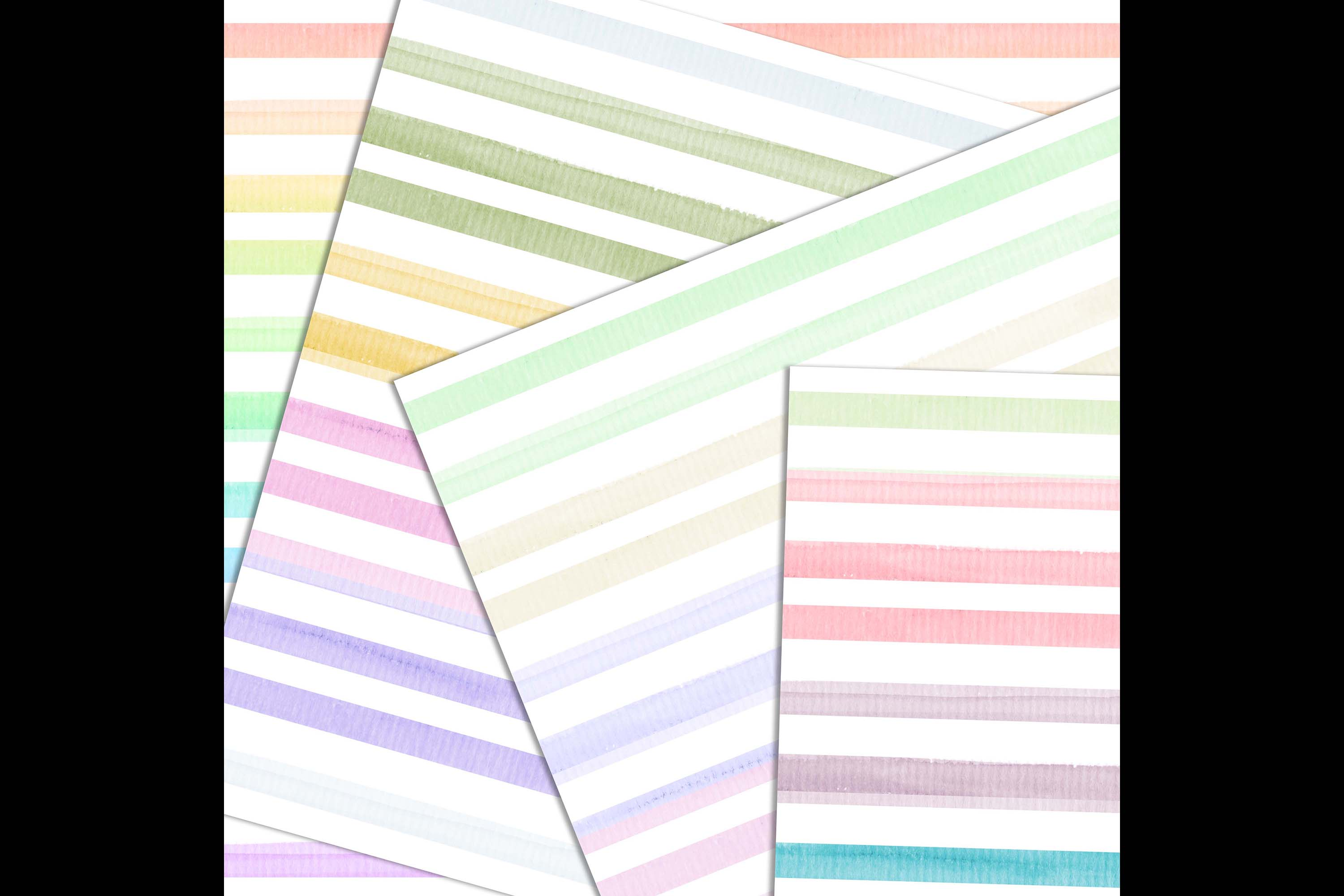 16 Seamless Watercolor Pastel Rainbow Ombre Stripes Papers example image 7