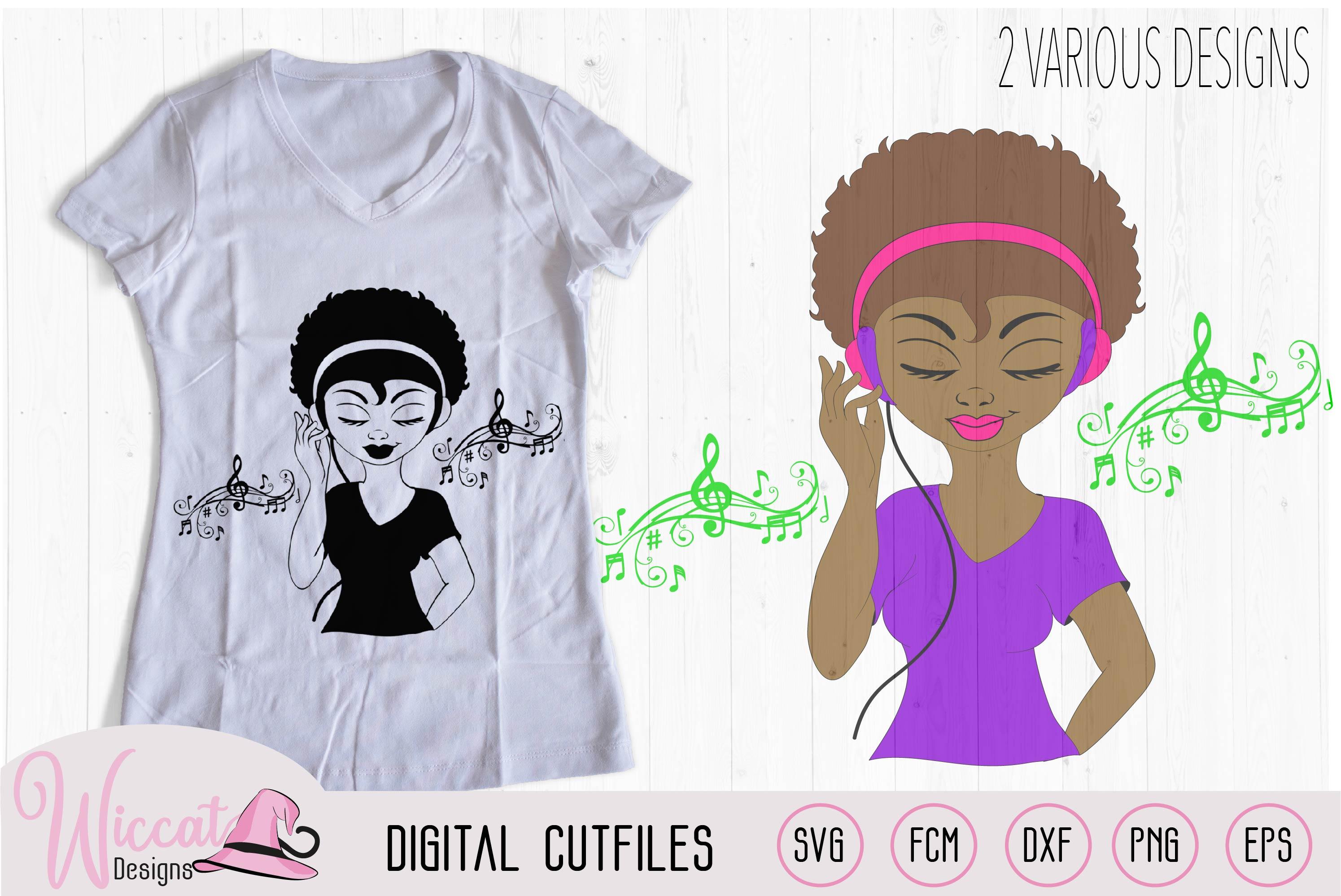 Afro DJ girl, Soul sister, Music girl, headphone and Music example image 1