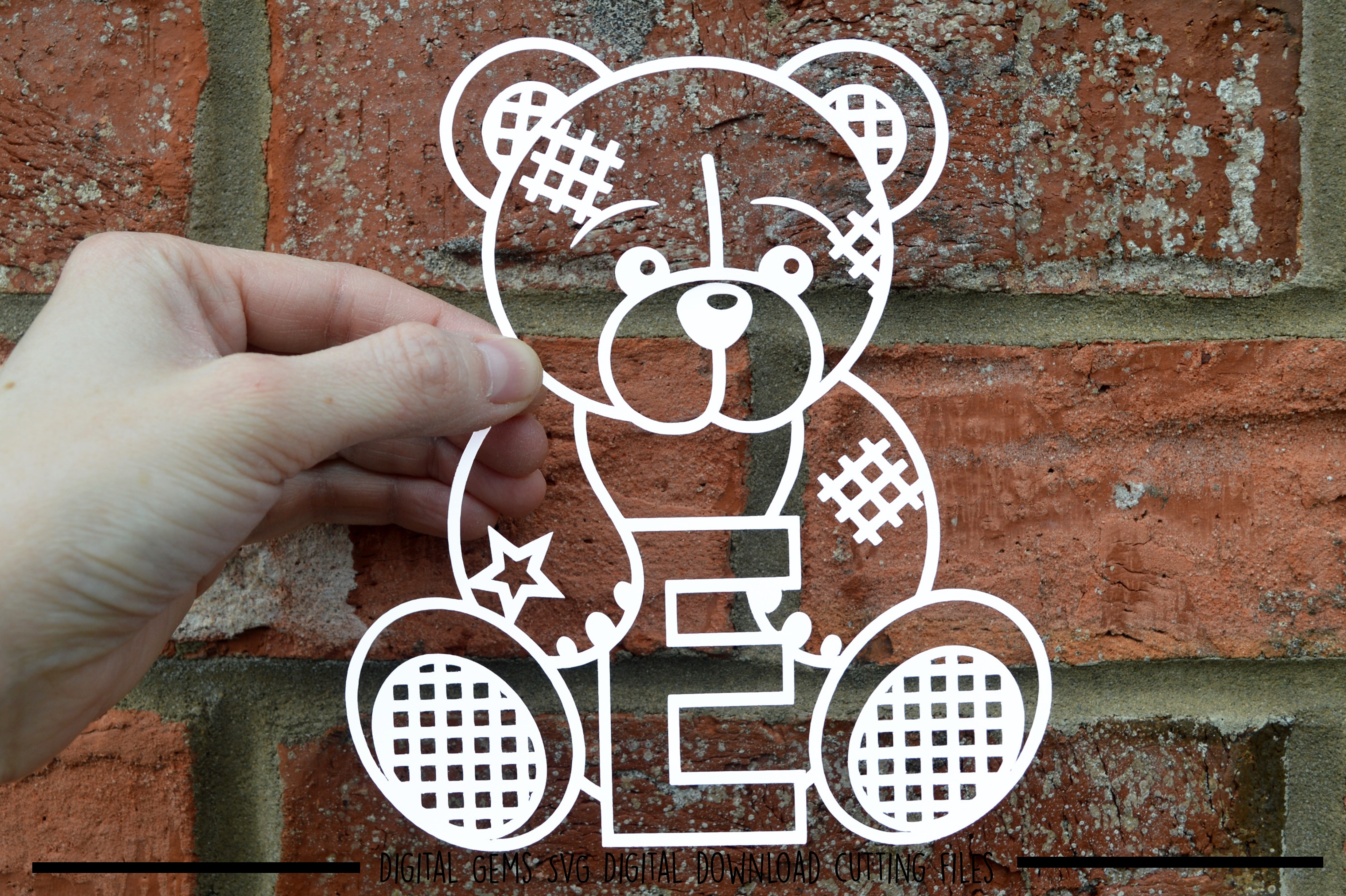 Alphabet teddy bear paper cuts SVG / DXF / EPS files example image 9