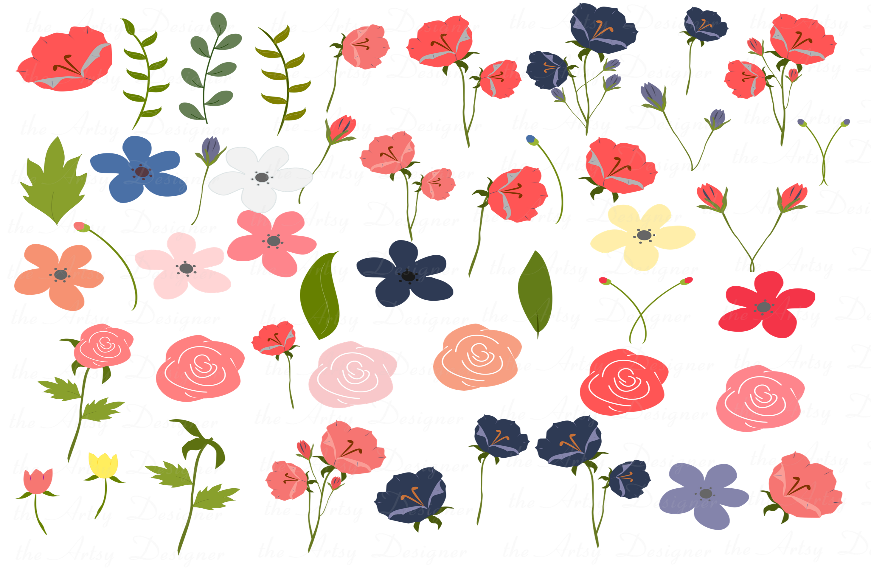 Navy Blue Coral Flowers Sublimation Clipart Bundle Wedding example image 3