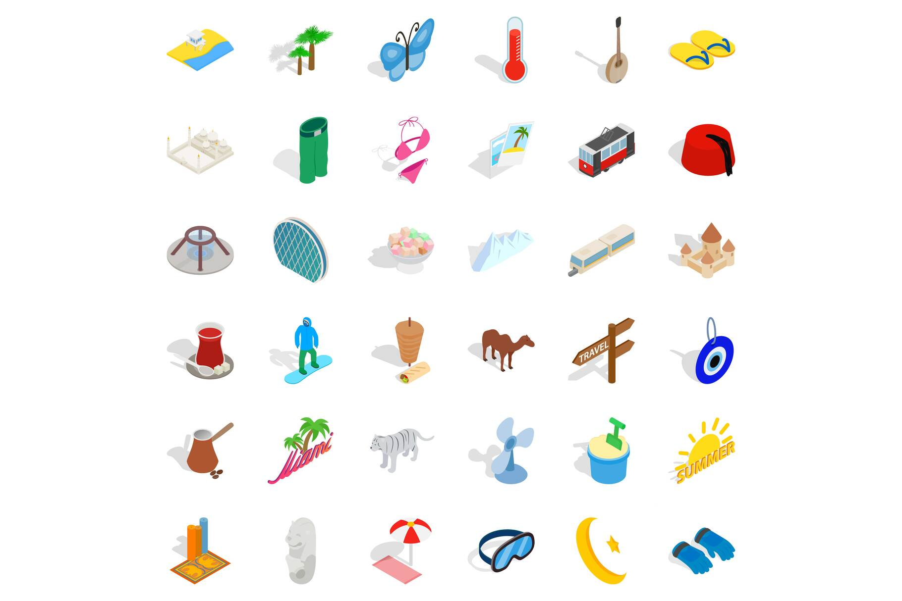 Sea vacation icons set, isometric style example image 1
