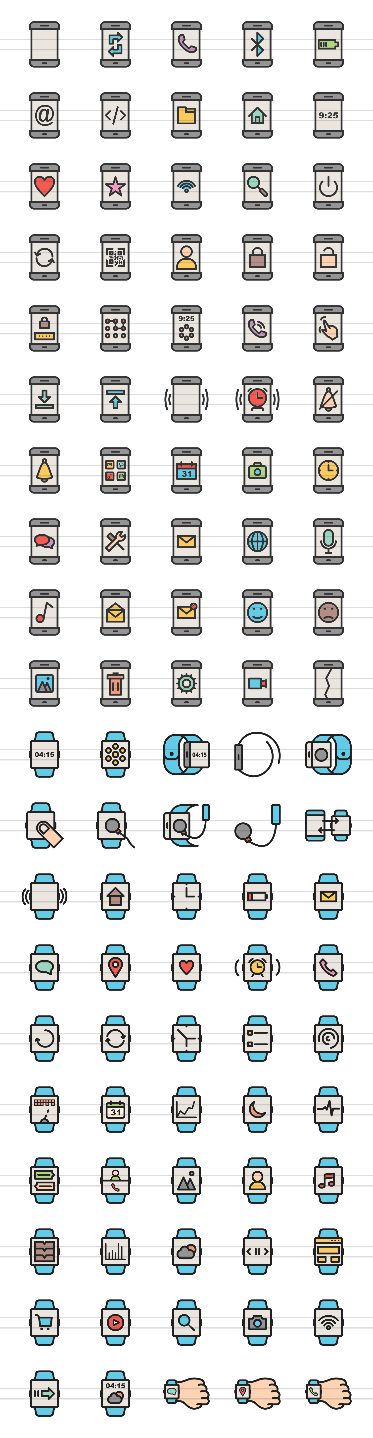 100 Smartphone & Smartwatch Filled Line Icons example image 2