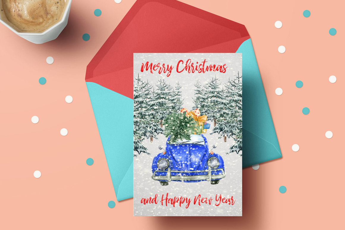 Watercolor Christmas Cars,Christmas Wreaths clipart Winter example image 7