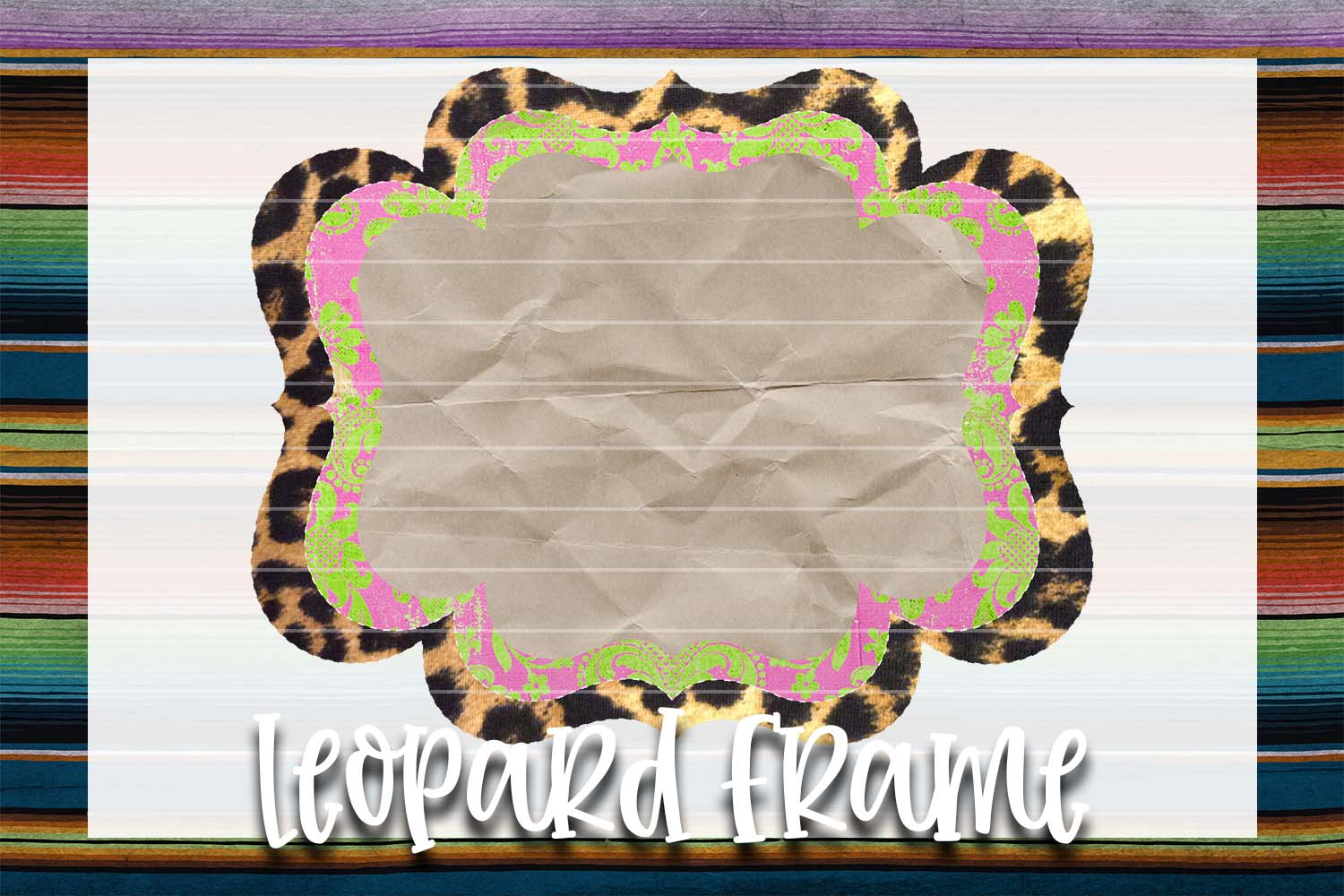 Lime Green & Pink Leopard Frame Background Element example image 1